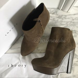 THEORY Bari Taupe Brown Suede Platform Ankle Boots